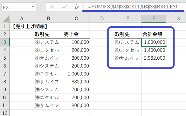 SUMIF関数の使用例