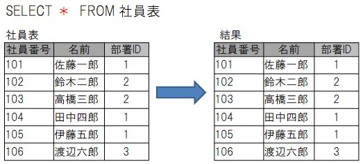 「*」を使って表の全ての列を抽出する例
