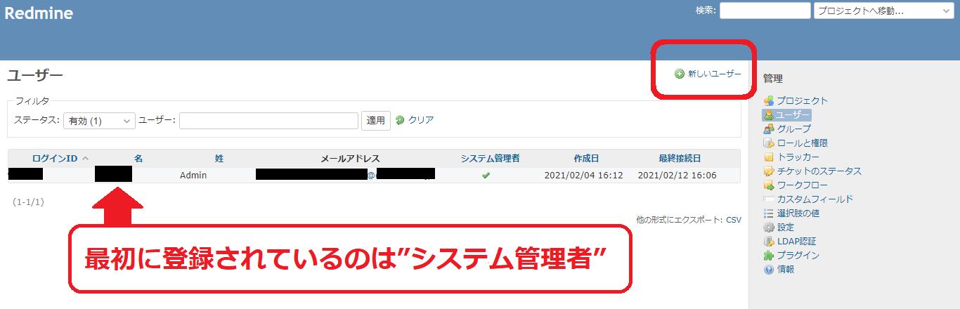 ユーザーの登録をする