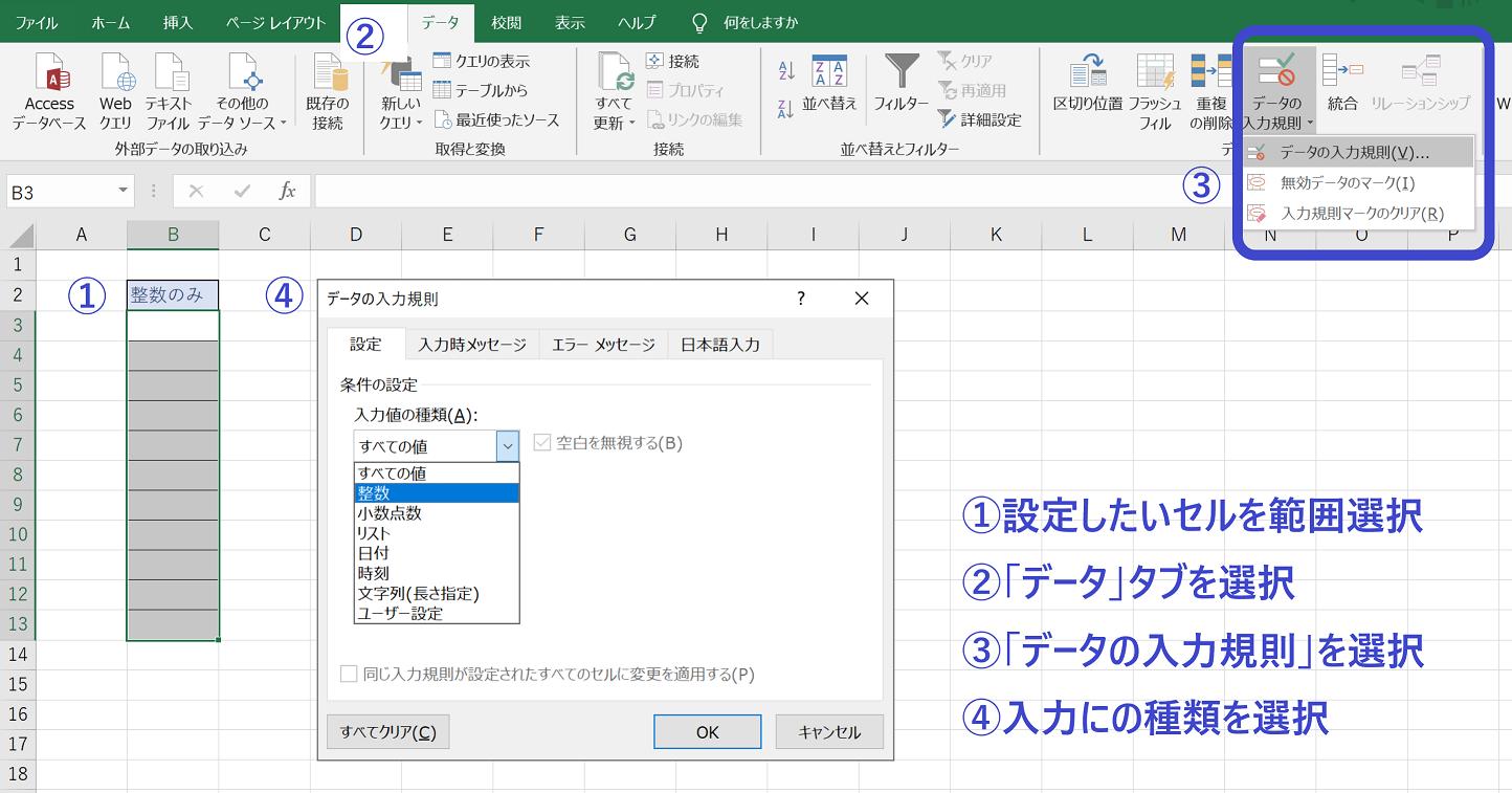 データの入力規則の設定方法
