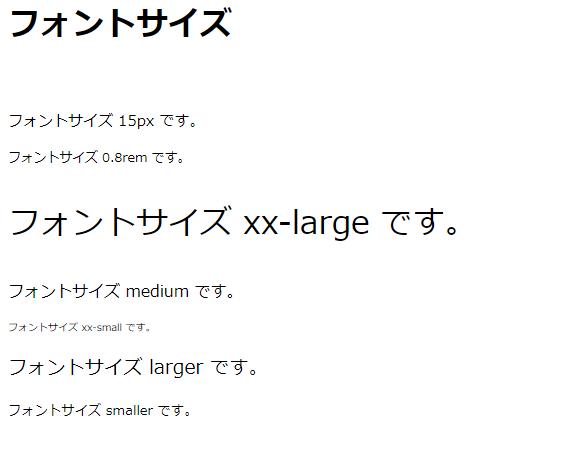 CSSでフォントサイズを変更した例