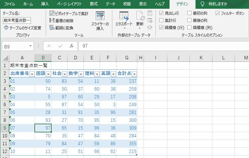 デザイン>テーブルスタイルのオプション>集計行