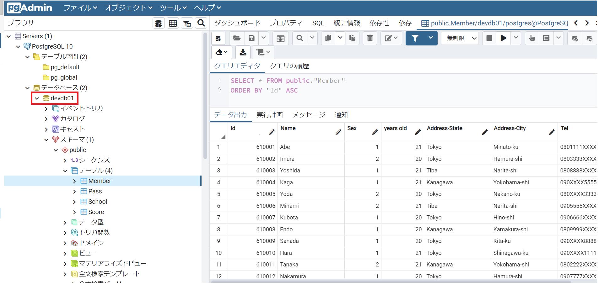 pdAdminのデータベース