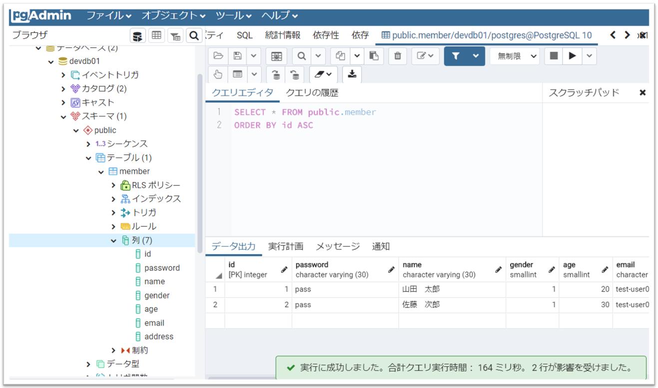 再度テーブルのデータを表示して、SQL(INSERT文)で登録したデータが追加されている事を確認