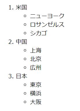 入れ子構造のリストの作成例