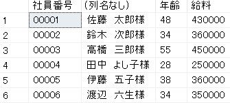 SELECT文で文字列の結合を行った例